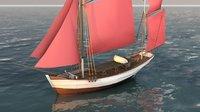 3D traditional sailboat model