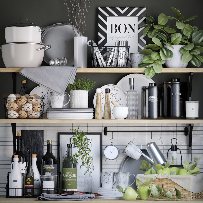 3D model kitchen set decor