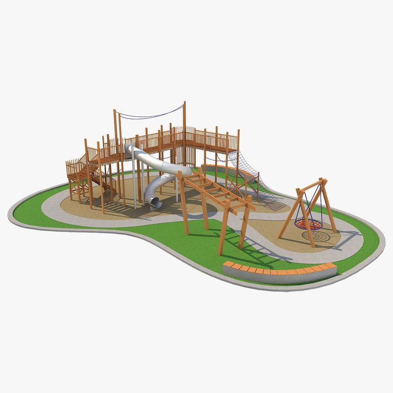 3D children playground ground model
