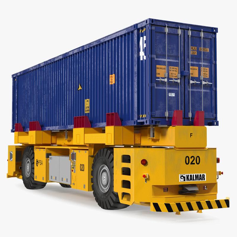 kalmar agv 40ft iso container 3D model
