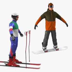 3D skier snowboarder skiing model