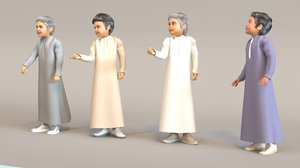 3D arab boys real cloth simulation model