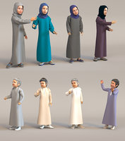 8x Arabic people real cloth simulation loop animated boys and girls.
