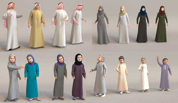 characters arab people real 3D model