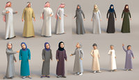 16x Arabic people real cloth simulation loop animated.