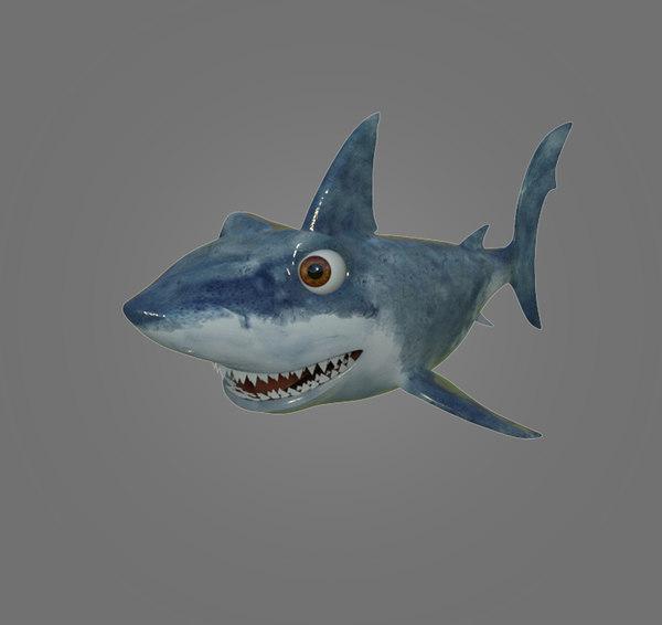 3D shark cartoon model