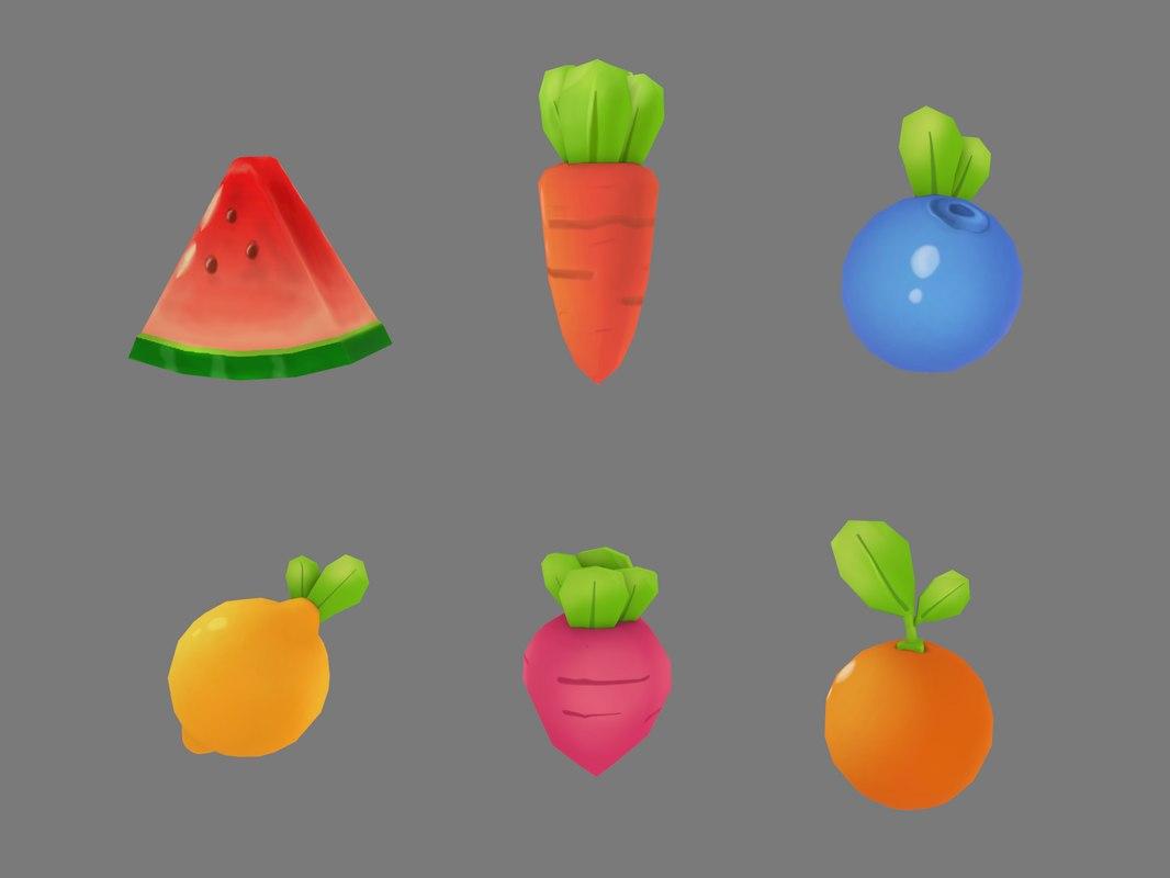 Modelo 3d Colección De Dibujos Animados De Frutas Y Verduras