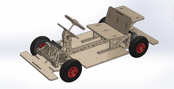 3D mini car chassis rod