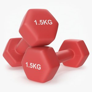 plastic fitness dumbbells 1 3D model