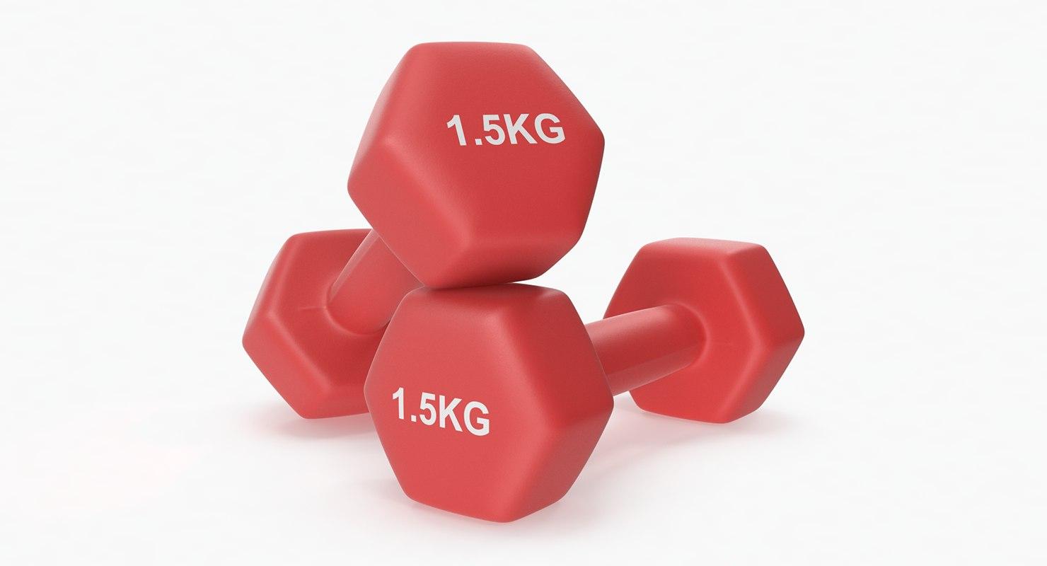 plastic fitness dumbbells 1 3D model