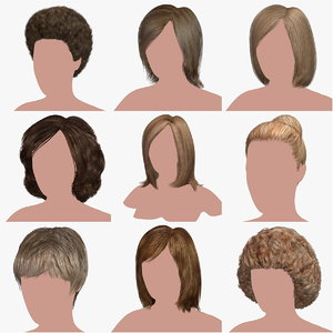 hair character blond 3D