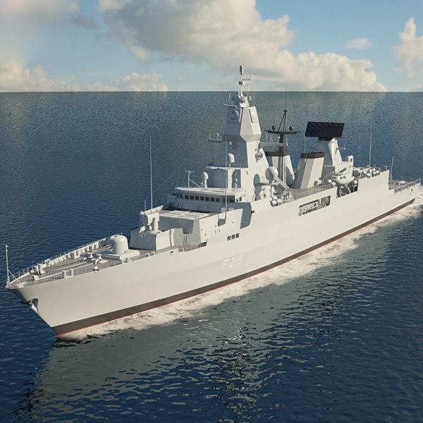 3D sachsen class frigate model