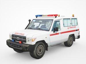 3D toyota land cruiser ambulance