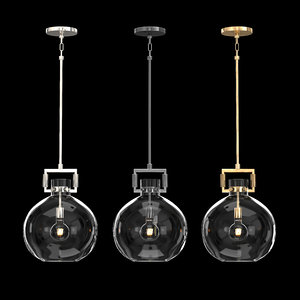 3D machinist glass globe pendant