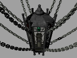 3D model gothic chain ceiling lantern