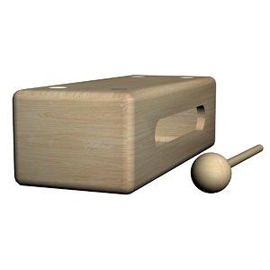 wood block drum percussion model