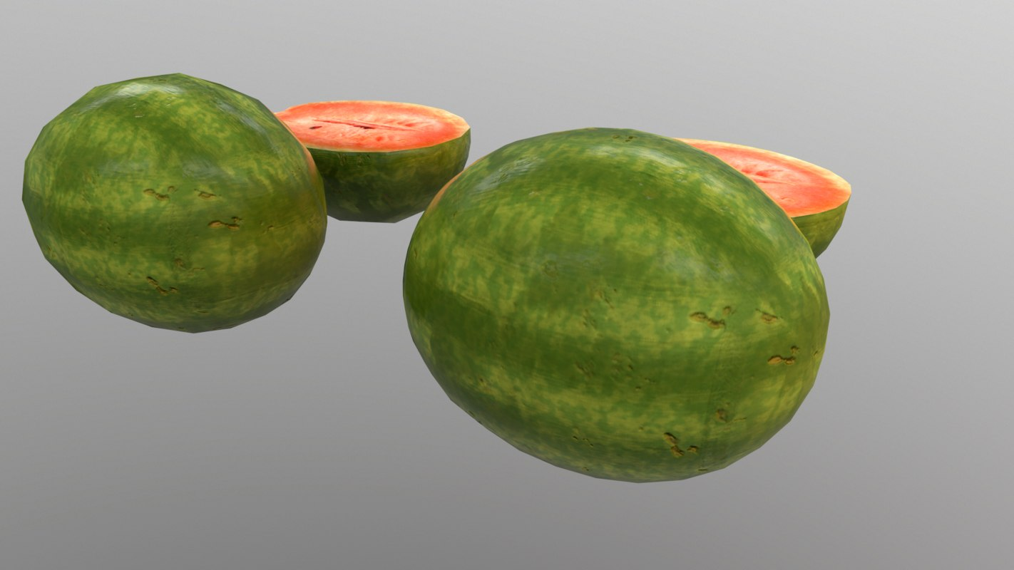 3D watermelon 2 lods fruit model