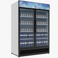 Filled Double Door Beverage Refrigerator
