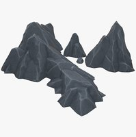 stylized rocks 3D model