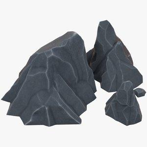 stylized rocks 3D model