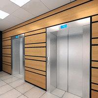 3D elevator set 01 office ceiling model