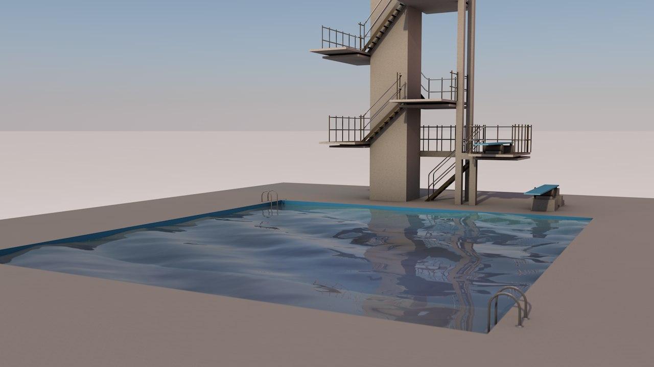 3D model swimming pool jump board