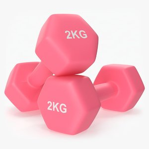 3D plastic fitness dumbbells 2kg model