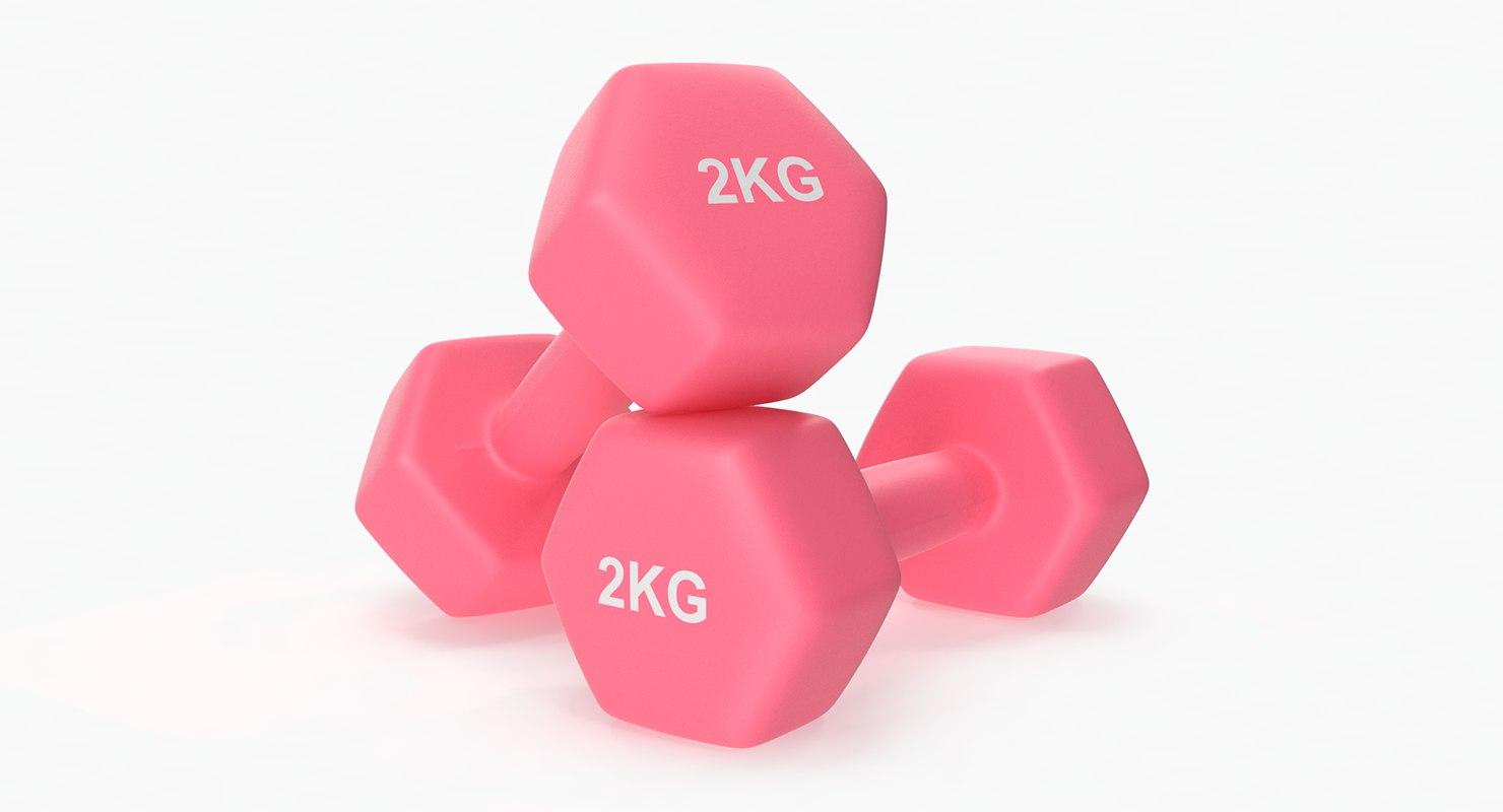 3D plastic fitness dumbbells 2kg model