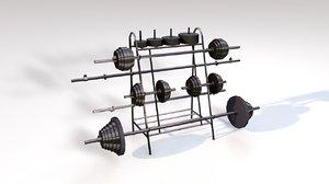 lift weight rack gym 3D model