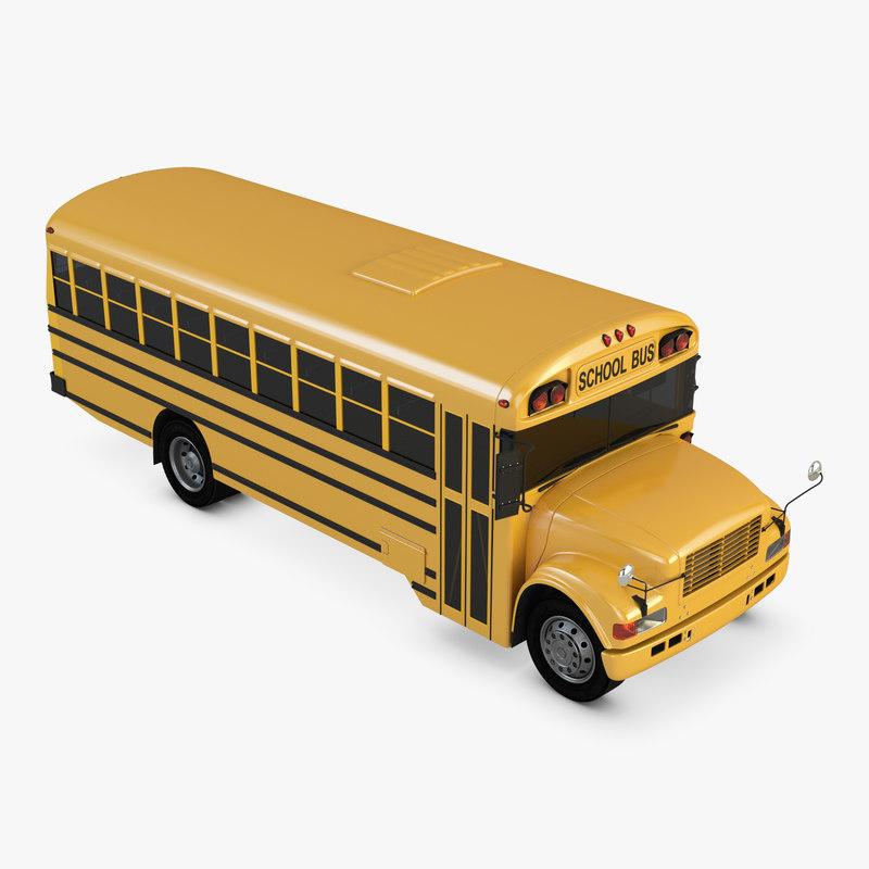 school bus blue bird 3D