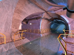 3D sci-fi tunnel scene