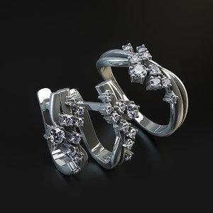 3D set earrings rings model