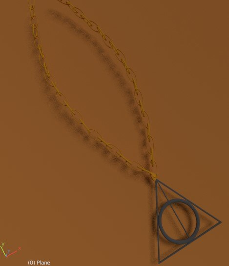 3D deathly hallows necklace model