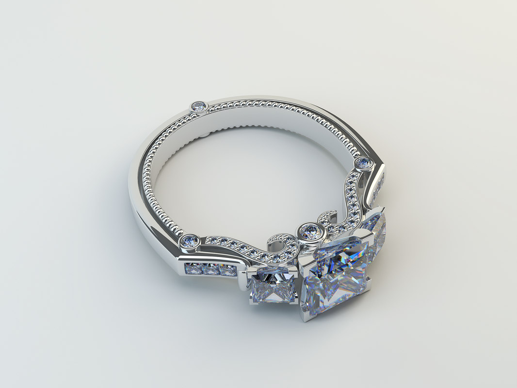 ring white gold 3D