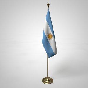 3D argentina flag pole