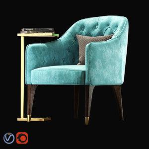chair eichholtz cyrus coffee table 3D model
