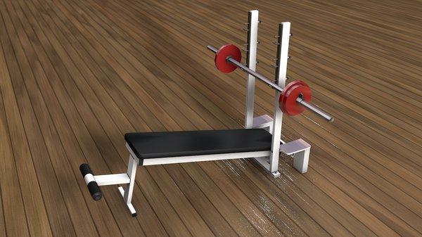 weight lifting bench press 3D model