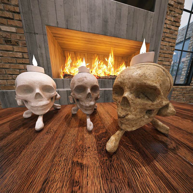 3ds max mystic candleholders skull