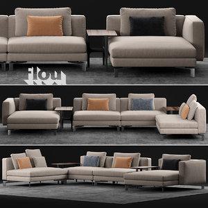 3D model flou tay sofa comp