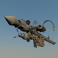 3D man-portable anti-aircraft missile steampunk