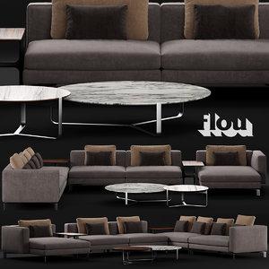 3D flou tay sofa d