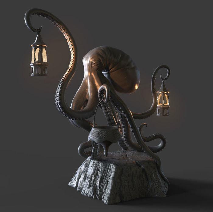 octopus sculpture 3D