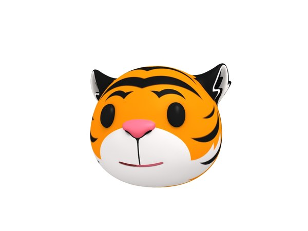 3D tiger head cartoon