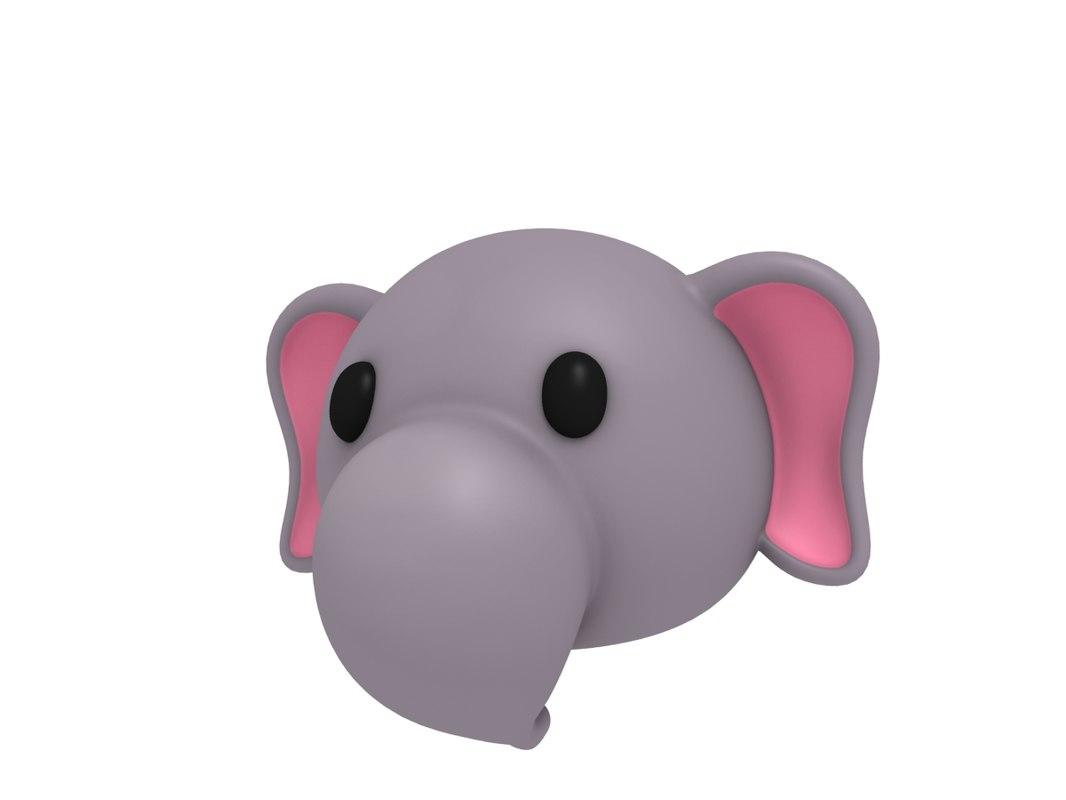3D elephant head cartoon