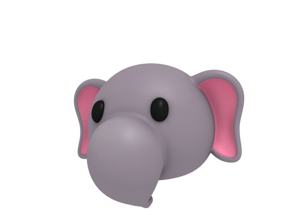 3D elephant head cartoon