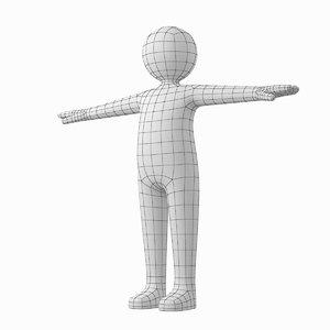 3D stickman t-pose adult male human