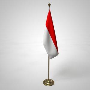 3D model indonesia flag pole
