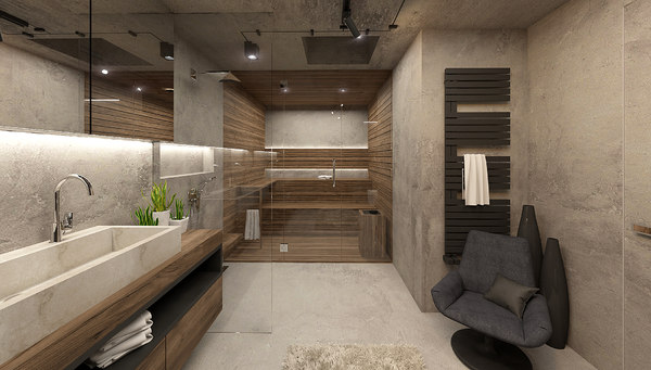 industrial bathroom interior 3D