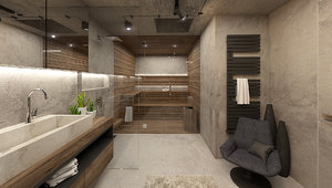 industrial bathroom interior 3D