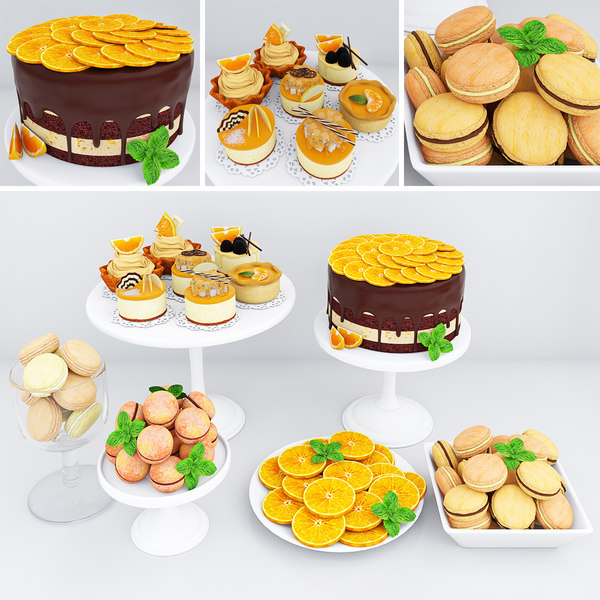 orange cake cookies macarons 3D model